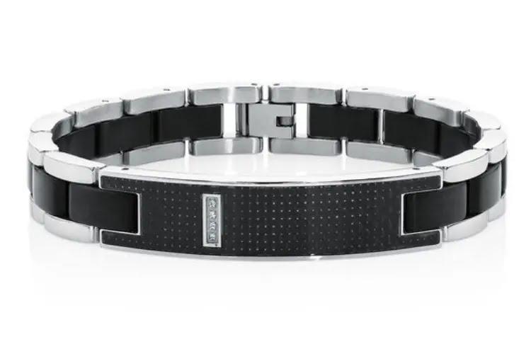 men's stainless steel and carbon fibre bracelet